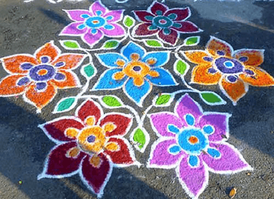 Colourful flowers rangoli design for Diwali-3