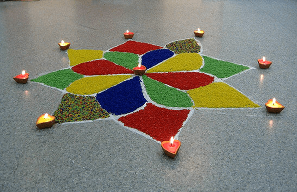 Diya rangoli design for Diwali-