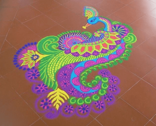Freehand peacock rangoli designs for diwali-4.1