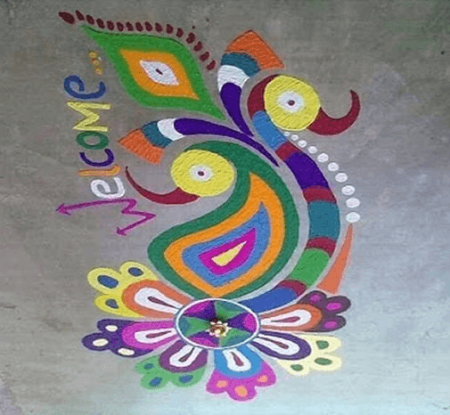 Freehand peacock rangoli designs for diwali-4