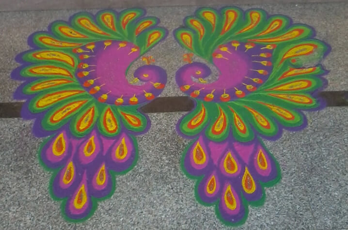 Freehand two peacock rangoli designs for diwali-4.1
