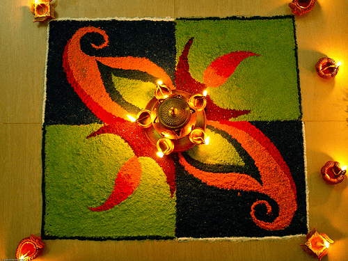 beautiful Colour combination rangoli design for Diwali