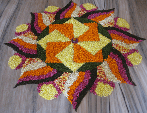 flowers rangoli design for diwali-2