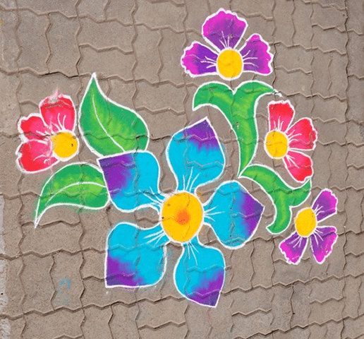 water-colours rangoli design for diwali