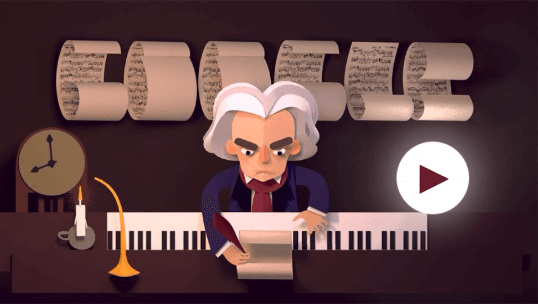 Google Doodle Celebrating Ludwig van Beethoven's 245th Year