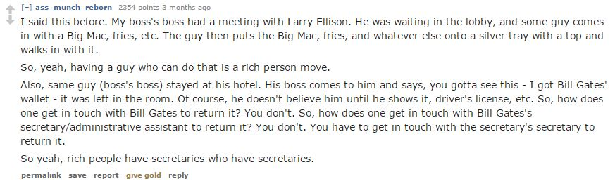 Rich People Like To Buy-secretaries who themselves have secretaries