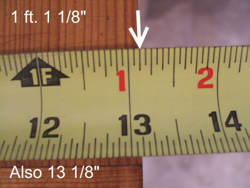 How to read Eighth-inch mark in a tape