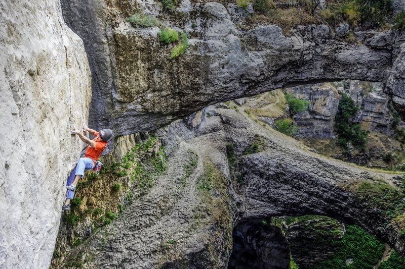David Lama on the first climb