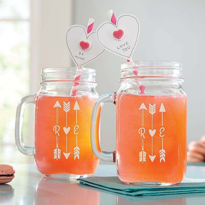Initial-Arrow-Mason-Jar for him or her