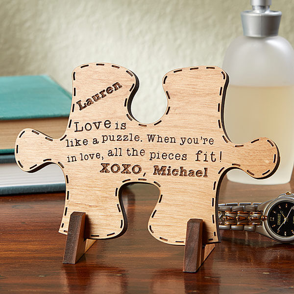Personalised puzzle-piece for him or her